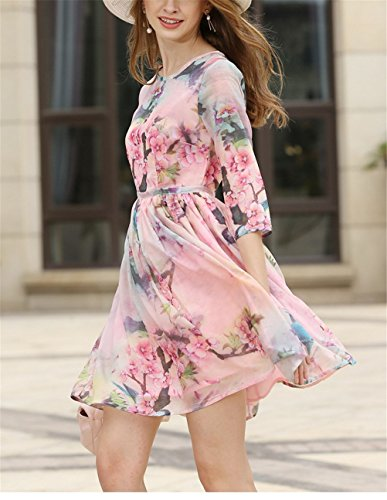 Floral Neck Woman SYGoodBUY High Round Summer Printed Pleated Slimming Pink Casual 123 Elegant Dress Waist Short dPXwP5Fx
