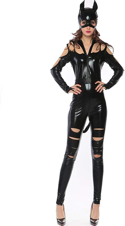 HGUIAZ Mujer Sexy Catsuit Catwoman Disfraz Patentar Cuero ...