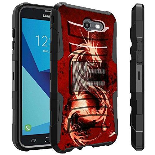 Galaxy J7 Sky Pro Case, Galaxy J7 Perx Case, Galaxy J7 V Case by Untouchble [Heavy Duty Clip] Combat Shockproof Layer Rugged Hybrid Armor [Kickstand] [Swivel Belt Holster Clip] - Red (Dragon Phone)