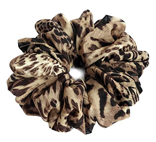 (Brown Beige Leopard Scrunchies for Hair Large Chiffon Tropical Accessories Headband Ponytail Holder Gift for Teen Girls Women)