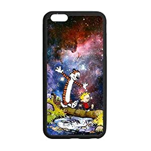 Calvin And Hobbes, Rubber Phone Cover Case For iphone 6+ (5.5 inch), iphone 6 plus Cases, Black / White