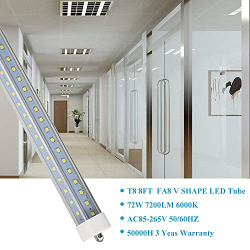 JESLED T8/T10/T12 8FT LED Tube Light, Single Pin FA8 Base, 50W 6000LM 5000K Daylight White, 270 Degree V Shaped LED Fluorescent Bulb (130W Replacement), Clear Cover, Dual-Ended Power (12-Pack) by JESLED (Image #4)