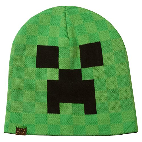 JINX Minecraft Creeper Face Knit Beanie (Green, L/XL)]()