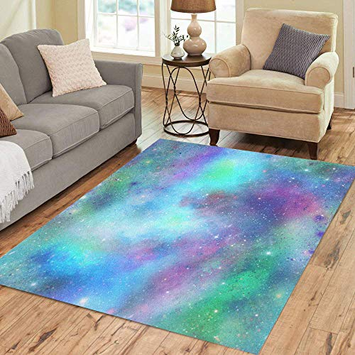 Semtomn Area Rug 3' X 5' Pink Blue and Green Outer Space Galaxy in Purple Home Decor Collection Floor Rugs Carpet for Living Room Bedroom Dining Room