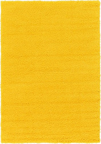 (Unique Loom Solo Solid Shag Collection Modern Plush Tuscan Sun Yellow Area Rug (6' 0 x 9' 0))