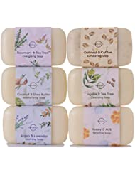 O Naturals 6 Piece Moisturizing Body Wash Soap Bar Collection 100% Natural & Organic, Infused with Therapeutic Essential Oils, Triple Milled, Vegan Soap. 4 oz. each