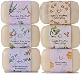 O Naturals 6 Piece Moisturizing Body Wash Soap Bar Collection. 100 Percent Natural, Made With Organic Ingredients, Infused With Therapeutic Essential Oils. Triple Milled, Soap for Women and Men. 4 Oz