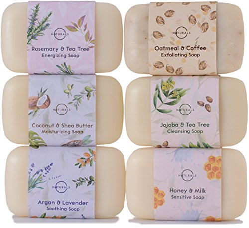 O Naturals 6 Piece Moisturizing Body Wash Soap Bar Collection. 100% Natural Made w/ Organic Ingredients & Therapeutic Essential Oils. Face & Hands. Vegan. French Triple Milled. For Women & Men 4 Oz