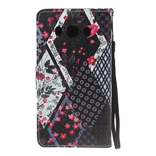 Para Samsung Galaxy J5 (2016) SM-J510F funda, (muchacha del globo) caja del teléfono de la PU patrón en relieve ,Función de Soporte Billetera con Tapa para Tarjetas correa de mano soporte para teléfon Flores de tela escocesa
