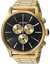 Nixon Mens Sentry Chrono Quartz Stainless Steel Casual Watch, Color:Gold-Toned (Model: A386510-00)