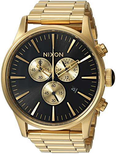 Nixon Men's Sentry Chrono Japanese-Quartz Watch with Stainless-Steel Strap, Gold, 20 (Model: A386510-00)