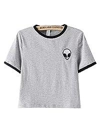 KKWFlus Teen Girls Crop Top Women Casual Tees Slim Short Sleeve T-Shirt