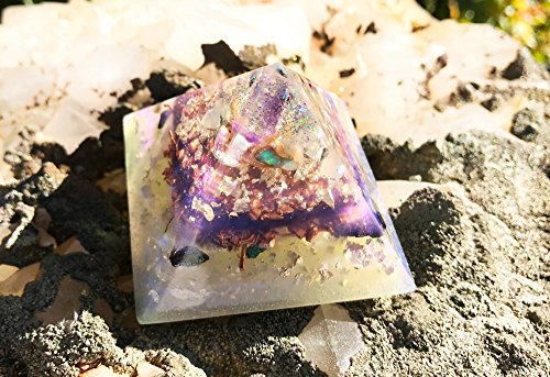 Violet Flame Orgone Pyramid/White Light Crystal Pyramid/Orgonite Pyramid (Flames Copper Wall Art)
