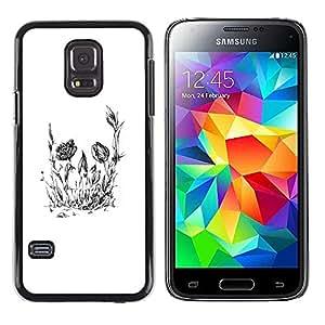 EJOY---Cubierta de la caja de protección la piel dura para el ** Samsung Galaxy S5 Mini, SM-G800 ** --Cráneo floral de la flor