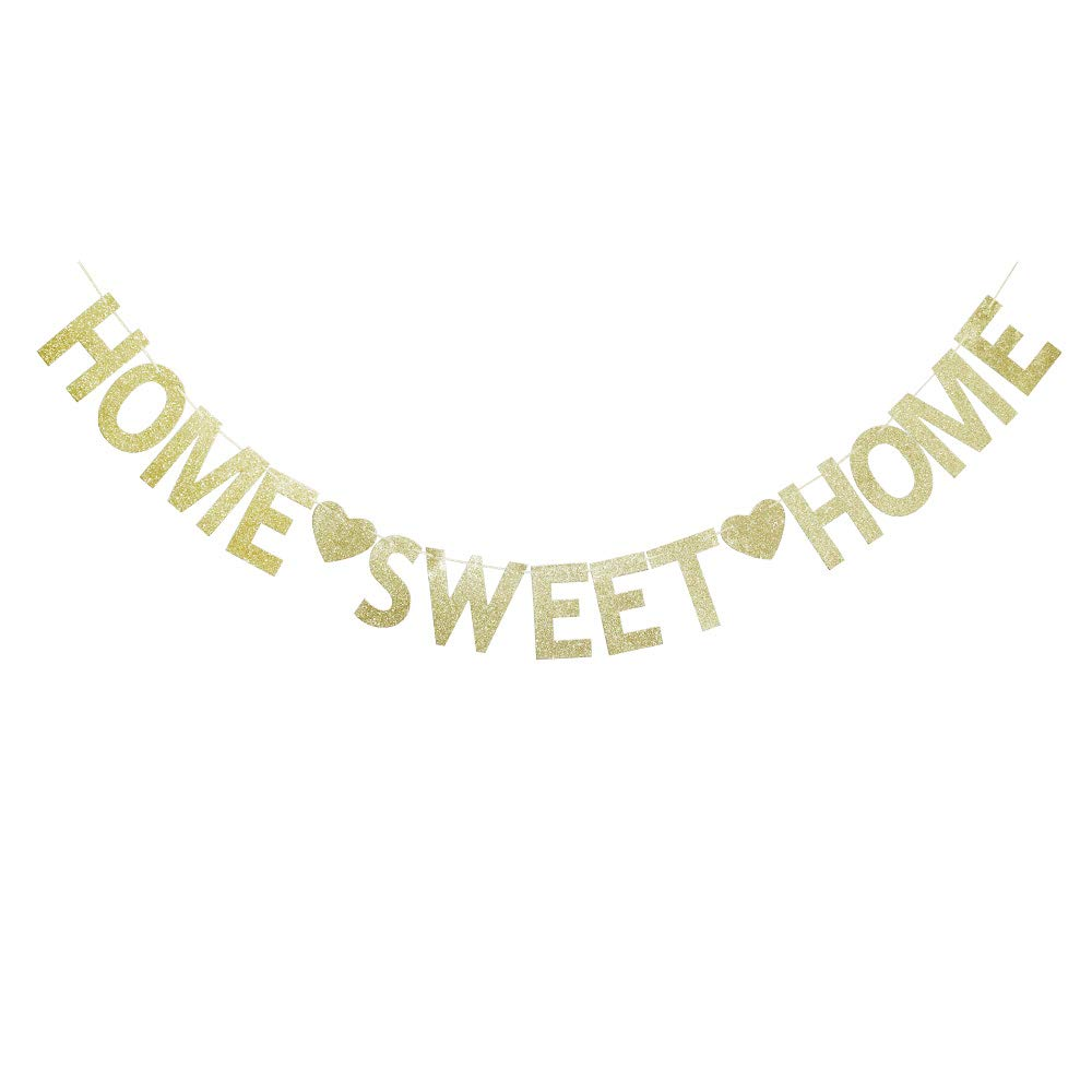 Home Sweet Home Banner,Funny Gold Glitter Welcome Home Party Sign Decors, Family Party Supplies