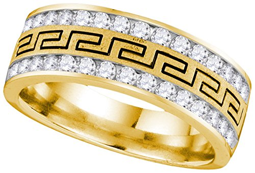 Roy Rose Jewelry 14K Yellow Gold Mens Round Diamond Double Row Grecco Greek Key Wedding Band 1-Carat tw ~ Size 10