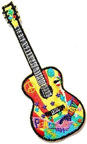 Guitarra paz amor Anit sin Guerra muestra Logo Hippie Retro ...