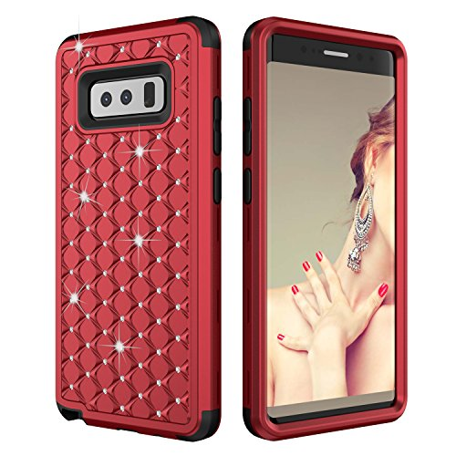 Galaxy Note 8 Case, AOKER [Perfect] [Diamond] 3 IN 1 Hard PC+Silicone Hybrid [Slim] Luxury Bling Crystal Dimond Impact Protection Defender Protective Case for Samsung Galaxy Note 8 (Red Black)