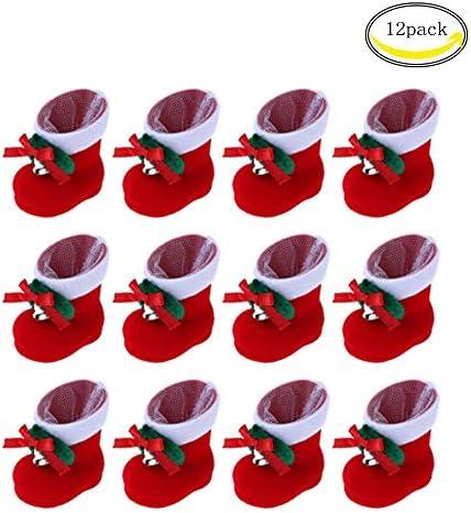 CHBOP Paquet de 12 Bottes de No/ël Bonbons D/écorations de No/ël Cadeaux pour Enfants Ornements darbre de No/ël Bas de No/ël pour Enfants