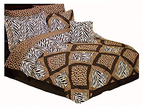 8pc Safari Patchwork Giraffe Leopard Zebra Animal Prints Brown and Black Full Size Comforter Set with Giraffe Print Sheet Set (Pillow NOT Included!)