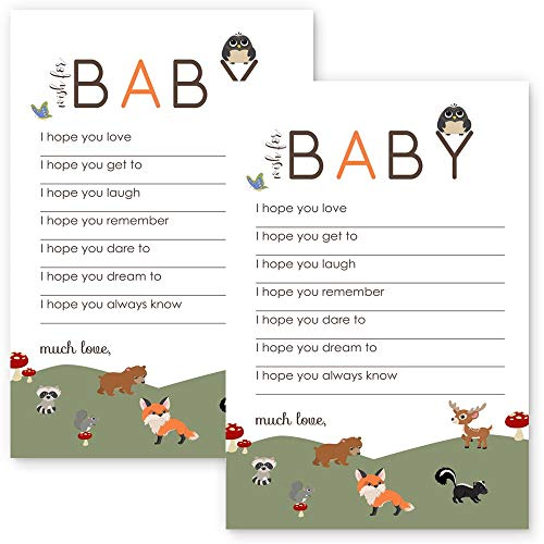(Woodland Wishes for Baby Shower Game Card Set of 20)
