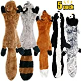 CNMGBB No Stuffing Dog Toys with Squeakers, Durable Stuffingless Plush Squeaky Dog Chew Toy Set,Crinkle Dog Toy for Medium and Large Dogs, 5 Pack(Squirrel Raccoon Fox Skunk and Penguin), 24Inch