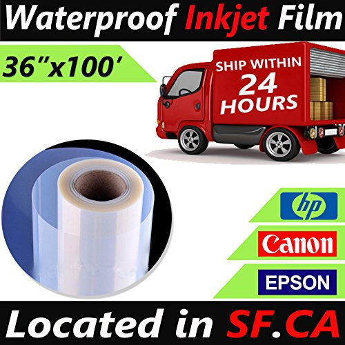 """Quick Dry Inkjet Printer Transparency - 36""""x100' / roll,Premium Waterproof Inkjet Instant Dry Transparency Film for Silk Screen Printing,Great for EPSON HP Canon Printers"""