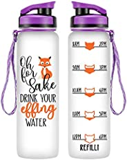 LEADO 32oz 1Liter Motivational Tracking Water Bottle w/Time Marker - for Fox Sake Drink Your Effing Water - Funny Mothers Da