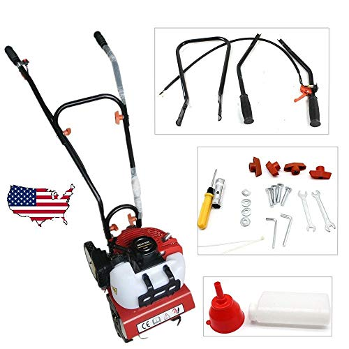 MONIPA Mini Garden Tiller Cultivator, Gas Engine Tine Rototiller Machine, 2-Stroke Single Cylinder, 52CC Air-Cooled Soil Cultivator Lawn Rotavator, Farm Plant Garden Yard Tilling Tool Petrol Engine