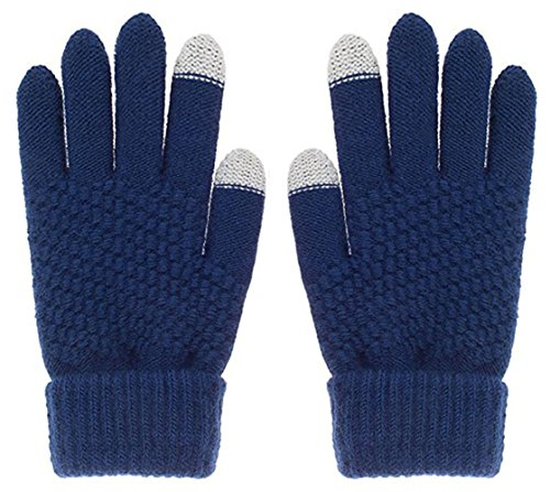 Glove us Winter Touch Screen Warm Knitted Gloves Thick Wool Windproof Cold Proof Thermal Mittens for Womens Girl (Navy Blue) (Ski Blue Navy)
