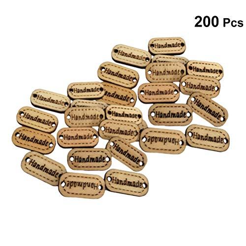 Healifty Etiqueta de Etiqueta Hecha a Mano Botones de Madera con 2 Agujeros para Manualidades Coser Ropa Paquete 200