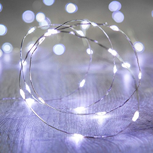ANJAYLIA LED Fairy String Lights, 16.5Ft/5M 50leds Bright Light Party Home Festival Decorations Battery Operated Lights(White)