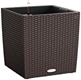 Lechuza Cube Cottage 50 Planter, Mocha Wicker