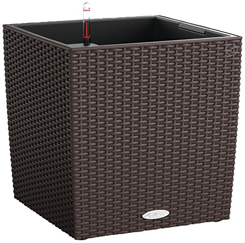 Lechuza Cube Cottage 50 Planter, Mocha Wicker by Lechuza