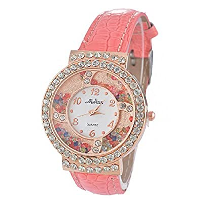 Souarts Artificial Leather Round Dial Quicksand Rhinestone Quartz Wrist Watch Pink