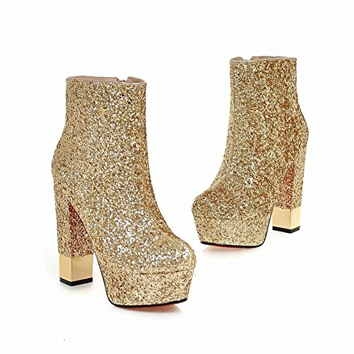 Plateau High Heels Schuhe YE Boots Ankle Gold Glitzer Stiefeletten Extreme Damen Blockabsatz xgq77Ba