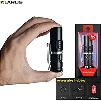 Mini Flashlight Klarus XT1C CREE XP-L HI V3 LED 700lumens beam distance 216 meter small size torch with 16340 battery