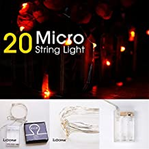 LIDORE Micro LED 20 Orange String Lights with Timer, Battery Operated on 7.87ft Long Silver Color Ultra Thin String Wire