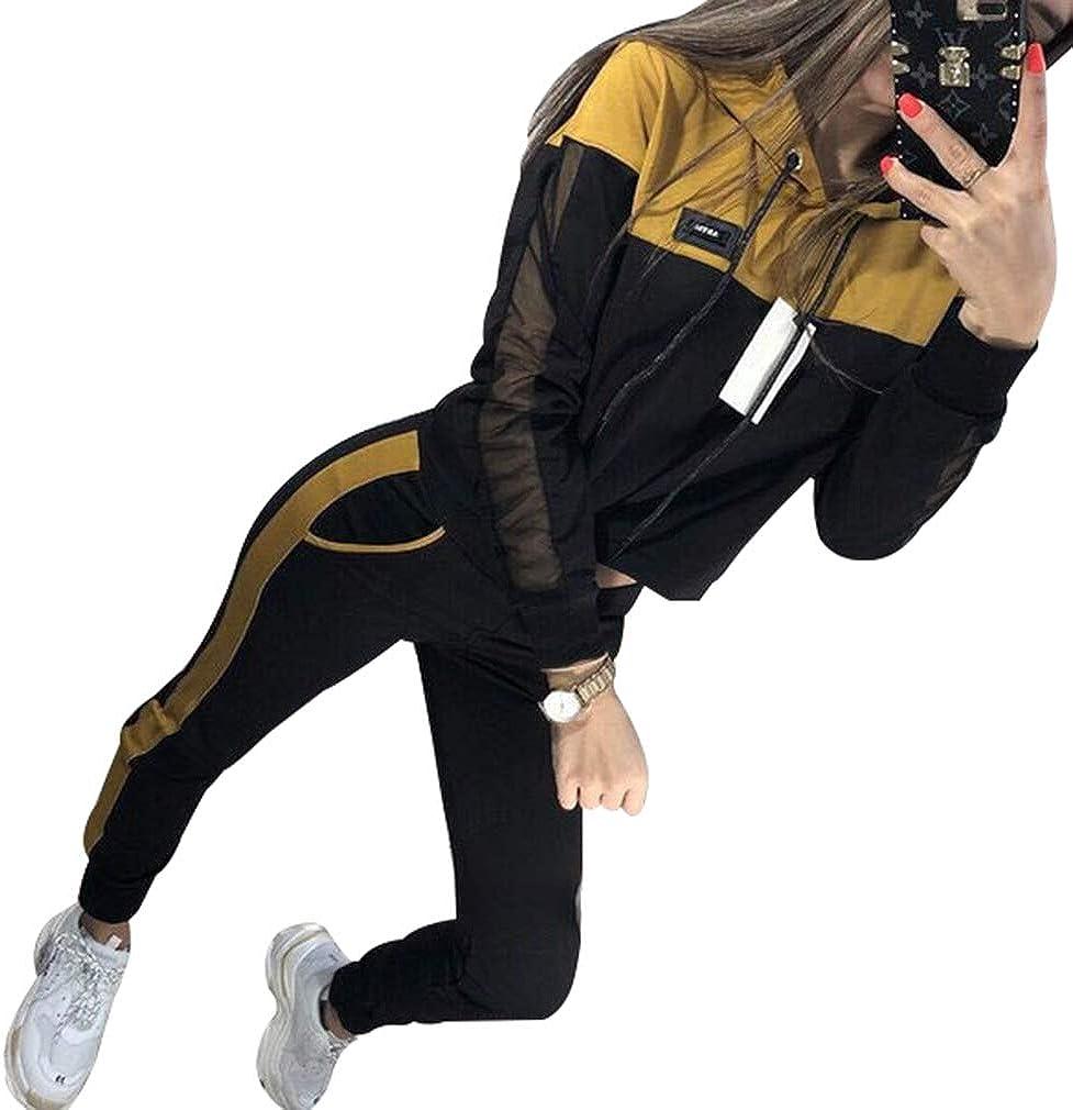 WEIMEITE 2 Unids Sudaderas con Capucha MujerSport Tops Pantalones Ch/ándal Sudadera Conjunto De Jogging