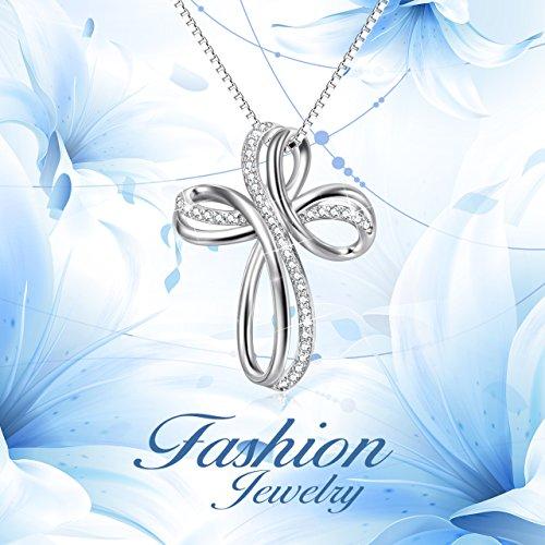 POPLYKE Cross Necklace Sterling Silver Infinity Loop Cross Pendant Necklace Jewelry for Women Men Girls Boys by POPLYKE (Image #4)