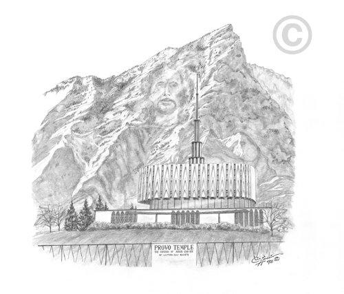 LDS Provo Utah Temple - Chad Hawkins Temple Sketch - 16x20 Print