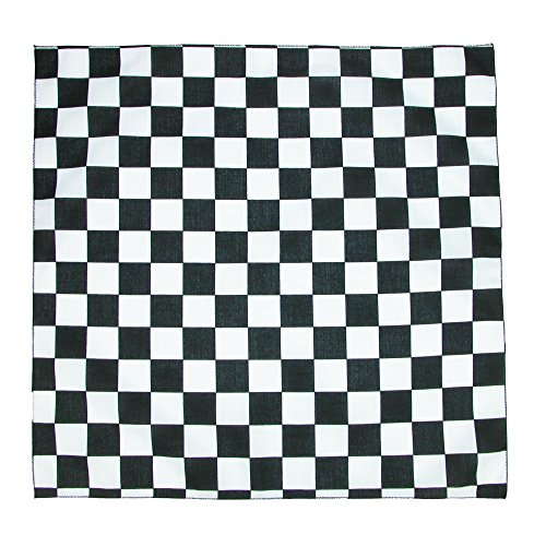 CTM Checkerboard Print Bandana, Black