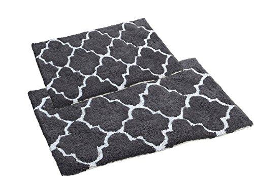Affinity Home Collection DTL2PC-CHR 2 Piece Moroccan Trellis 100% Cotton Bath Rug Set, Charcoal (Bath Towel Trellis)
