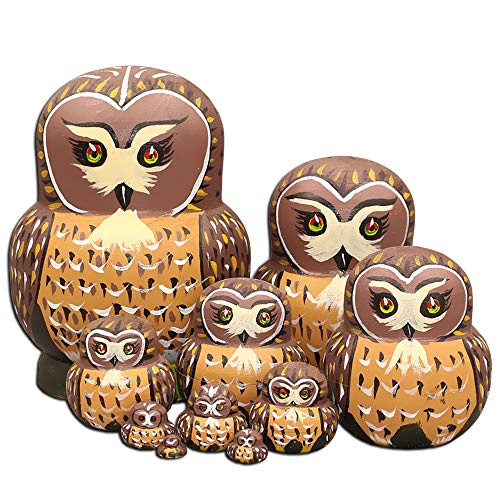 Moonmo 10pcs Cute Vivid Big Belly Shape Brown Owl Handmade Wooden Russian Nesting Dolls Matryoshka Dolls by Moonmo (Image #1)