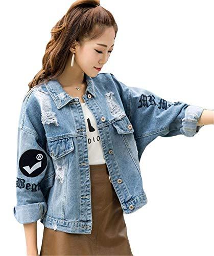 Blau Giubbino Giacca Autunno Primaverile Pattern Jacket Pureed Fidanzato Jeans Cappotto Corto Eleganti Stampati Giacche Lunga Sciolto Manica Donna 8Tw7w5q