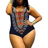 Minisoya Plus Size Women African Ethnic Printed Monokini Dashiki Swimwear Push-Up Swimsuit Beachwear Bathing Suit