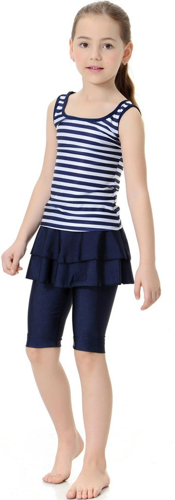 Ababalaya Muslim Islamic Girls SPF UPF 50+ UV 2pcs Ruffle Hem Stripe Sleeveless Swimsuit,Navy Blue,S