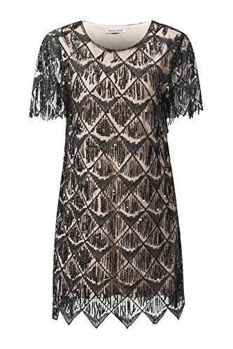 VVMCURVE Women's Sequin Fringe 1920 Short Prom Dress Sequins Art Deco Cocktail Gatsby Party Dress with Short Sleeve (X-Small, Black Pink) ()