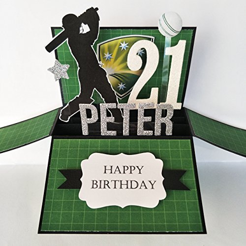 NAME & Age personalised birthday card, Cricket Card for men, 21st Birthday card, birthday card boyfriend, father's day card, card for dad