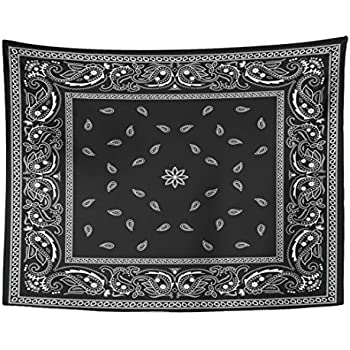 Emvency Tapestry Colorful Paisley Black Bandana Pattern Bandanna Border Scarf White Home Decor Wall Hanging for Living Room Bedroom Dorm 60x80 Inches